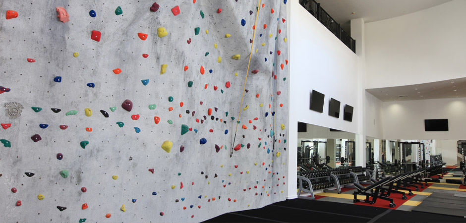 Exercise like never before at our gym with a rock climbing wall
